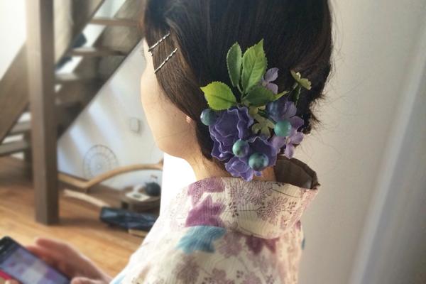 紫陽花の髪飾り